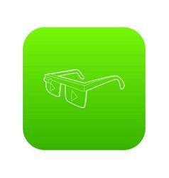 Smart glasses icon green vector