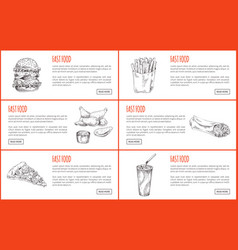 take away or fast food icon set for landing page vector image
