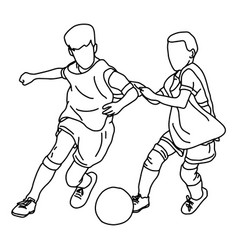 two boys playing football together vector image