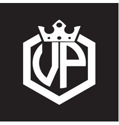 Vp logo monogram rounded hexagon shape vector