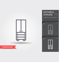 Wardrobe line icon with editable stroke with vector