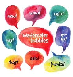 Watercolor speech bubbles set vector