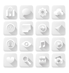 White flat icons web design elements vector image
