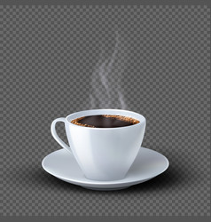 white realistic coffee cup with smoke isolated on vector image