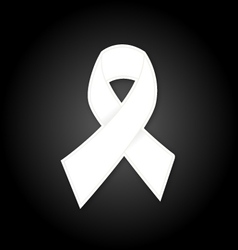 White ribbon on black background vector image vector image