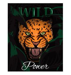 Wild power slogan with amur leopard face vector
