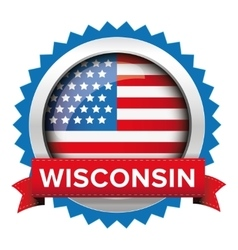 Wisconsin and usa flag badge vector
