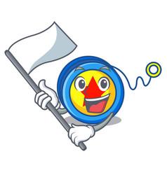 With flag yoyo mascot cartoon style vector