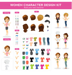 Women character design kit vector