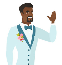 Young african-american groom waving his hand vector