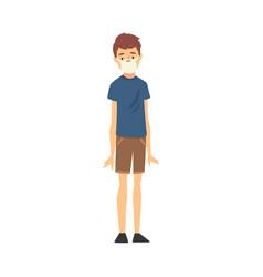 Young boy in medical mask cartoon vector