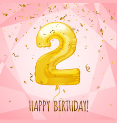 2 birthday greeting card on shiny pink background vector