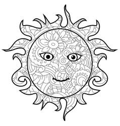 adult antistress coloring sun pattern astrakhan vector image
