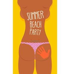 Bikini Sexy Girl tatoo Summer beach party poster vector image