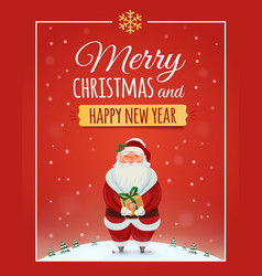 Christmas greeting card poster with Santa Claus vector image