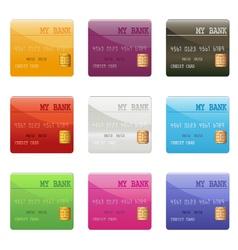 credit card set vector image vector image