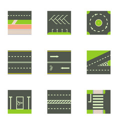 different road way icons set cartoon style vector image