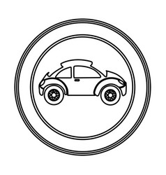 round emblem side sport car icon vector image vector image