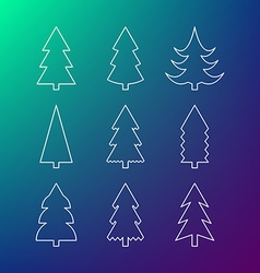 Thin line icon set of Christmas trees vector image