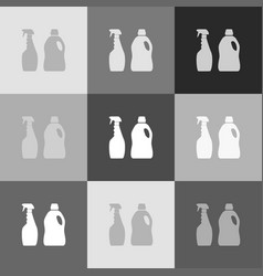 household chemical bottles sign grayscale vector image vector image