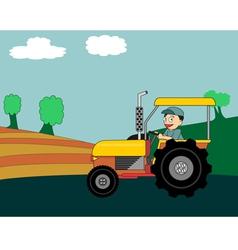 Cartoon farmer driving colorful tractor vector image vector image