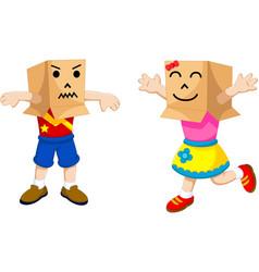 funny children cartoon playing cardboard vector image vector image