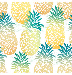 ink hand drawn seamless pattern with pineapples vector image