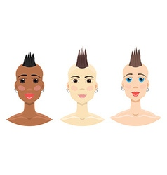 Mohawk hairstyle girl set vector image vector image