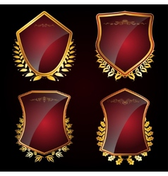 Set of shields with laurel wreaths vector image