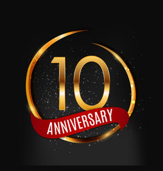 template gold logo 10 years anniversary with red vector image