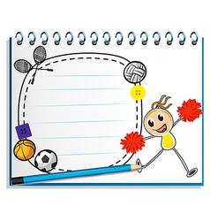 A notebook with a sketch of a young cheerleader vector image vector image