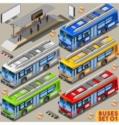 Bus Set 01 Vehicle Isometric vector image vector image