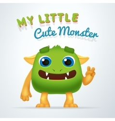Cute Green alien beast character My little cute vector image vector image