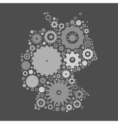 Germany map silhouette mosaic of cogs and gears vector image vector image