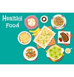 Healthy meat dishes with fruit desserts icon vector image vector image