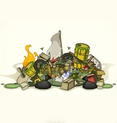 Pile of various garbage vector
