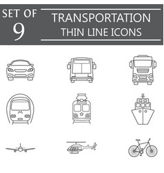 transport line icon set public transportation vector image