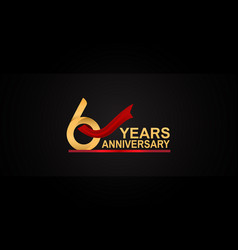 6 years anniversary design with red ribbon vector