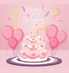 a birthday cake on pink background vector image
