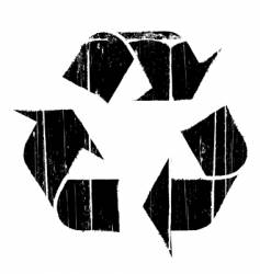 Aged old recycle symbol texture vector