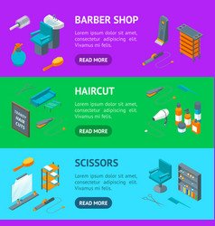 barber shop banner horizontal set isometric view vector image