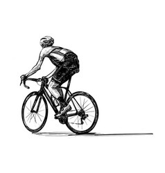 Bicycle competition show riders isolate hand draw vector