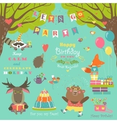 Birthday party elements with cute animals vector