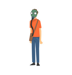 boy in respirator and with bag cartoon vector image