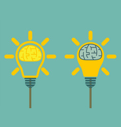 brain in light bulb vector image