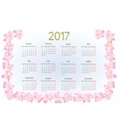 Calendar 2017 with wild rose blossoms vintage vector