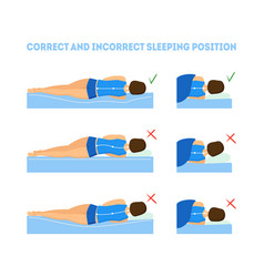 Cartoon correct sleeping body posture set vector