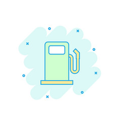 cartoon fuel gas station icon in comic style car vector image