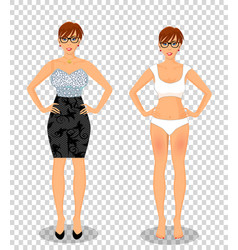 cartoon girl with short brown hair in black dress vector image