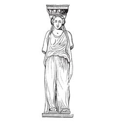 Caryatis from erechtheum at athens blending vector